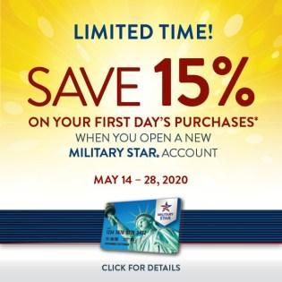 Military Star Save 15% May 14-28
