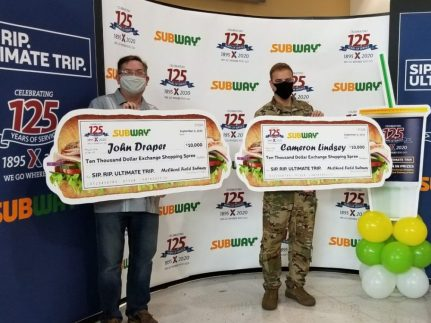 62nd Aerial Port Squadron Safety and Security Manager John Draper and Air Force Capt. Cameron Lindsey, both of Joint Base Lewis-McChord, each won a $10,000 Army & Air Force Exchange Service shopping spree in the Sip. Rip. Ultimate Trip sweepstakes. Draper and Lindsey went on their shopping sprees Sept. 4 at the McChord Exchange.