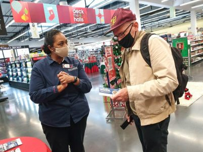 Exchange associate helps shopper