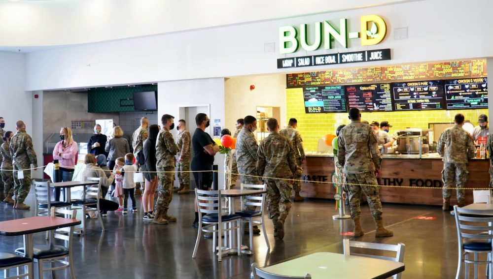 All of the Exchange's 1,700 restaurants, including this Bun-D at Spangdahlem Air Base, Germany, offer better-for-you options that support Warfighters' readiness and resiliency.