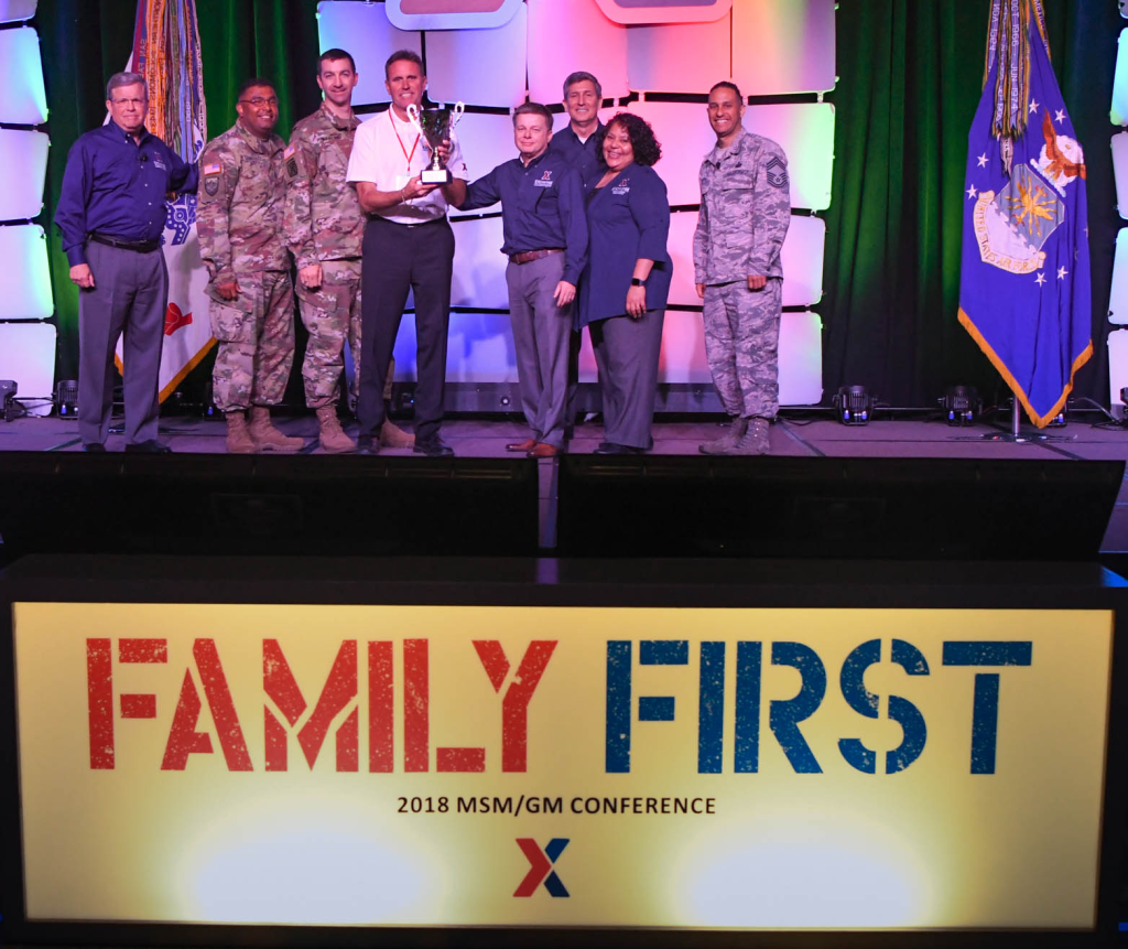 The Iraq Exchange won the Family Serving Family Award at the Exchange's annual Main Store Managers/General Managers Conference. Pictured (left to right): Exchange Director/CEO Tom Shull; Europe Senior Enlisted Advisor SGM Eliecer Quintero; Europe Region/SW Asian Commander Col. Scott McFarland; Vice President of Southwest Asia Region John Burk; Chief Operating Officer Dave Nelson; Chief Administrative Officer Phil Stevens; President Ana Middleton; and Chief Master Sgt. Luis Reyes.