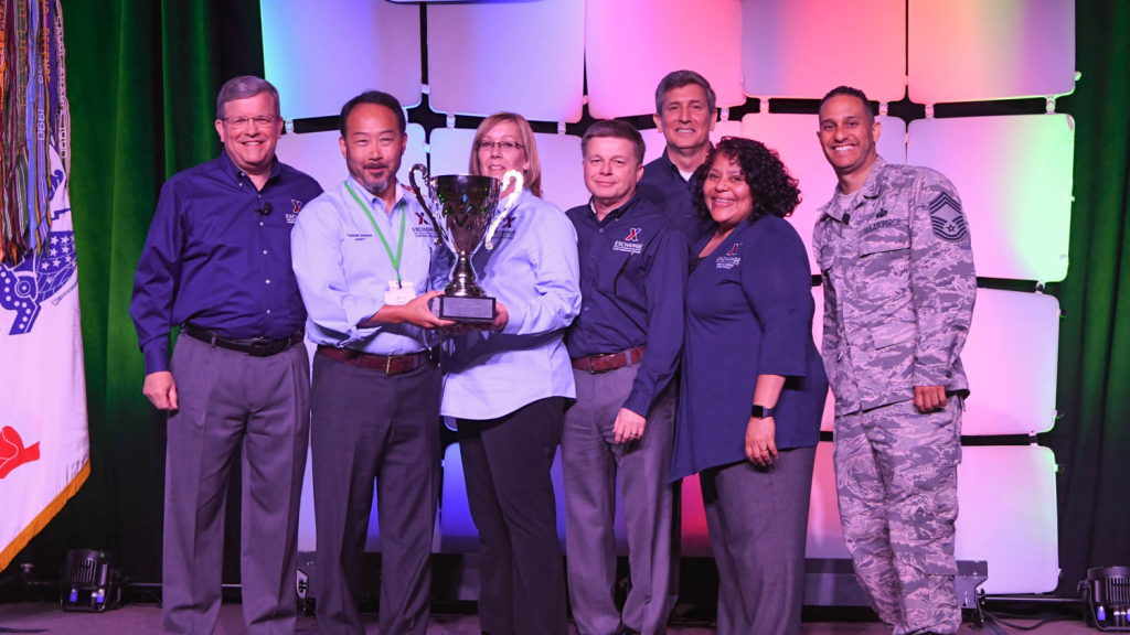 Offutt AFB, awarded the Director/CEO Cup in the Small category. Pictured (left to right):  Director/CEO Tom Shull; Offutt Exchange General Manager Jerry Shugart; Main Store Manager Patricia Griffin; Chief Operating Officer Dave Nelson; Chief Administrative Officer Phil Stevens; President Ana Middleton; and Chief Master Sgt. Luis Reyes.