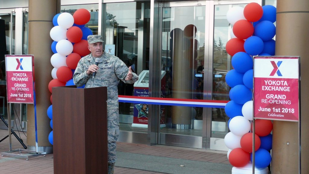 374th Airlift Wing Commander Col. Kenneth Moss address the audience at grand re-opening ceremonies of the Yokota AB Exchange.