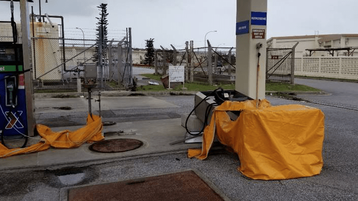 Toppled gas pumps at Kadena AB on Okinawa.