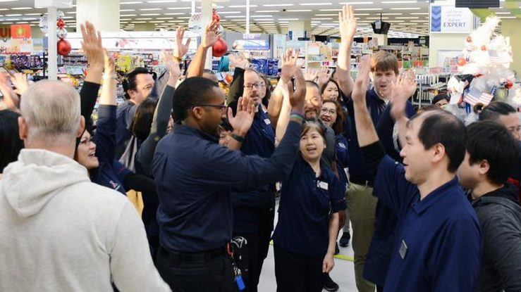 Exchange managers and associates at Japan's Yokota AB get revved up for Black Friday weekend.