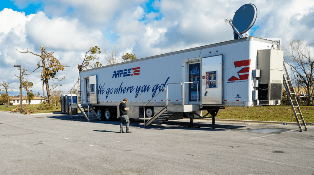 The Exchange Service opened its mobile field exchange at Tyndall AFB Oct. 21—the only store within miles supporting hundreds of service members as they rebuilt after Hurricane Michael.