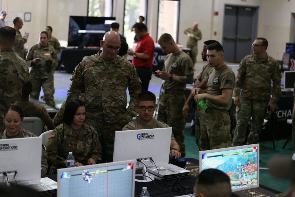 Soldiers play video games at Camp Mabry