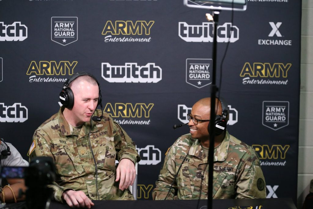 Sgt. 1st Class Brown speaks with Twitch stream commentators