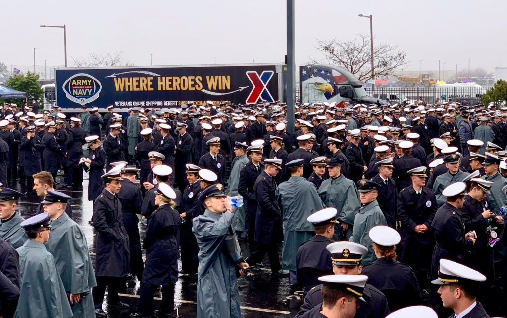 Cadets and Midshipmen queue up in front of the Exchange's rolling billboard – the Army-Navy tractor-trailer truck.