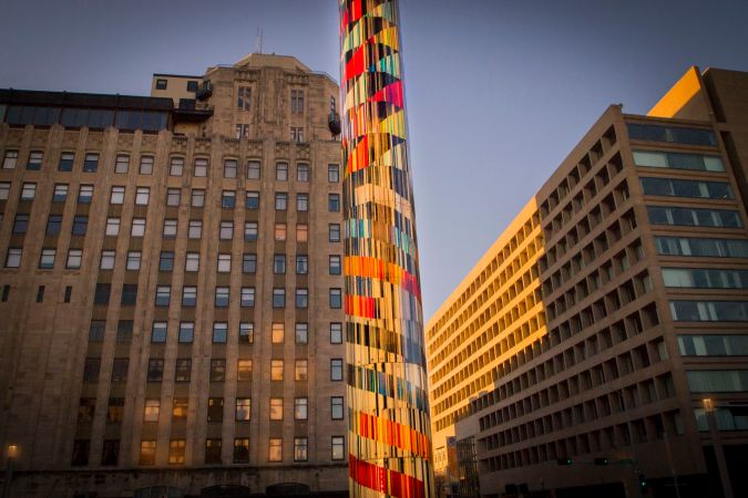 Tower Plaza at dawn by Yvonne Meyer