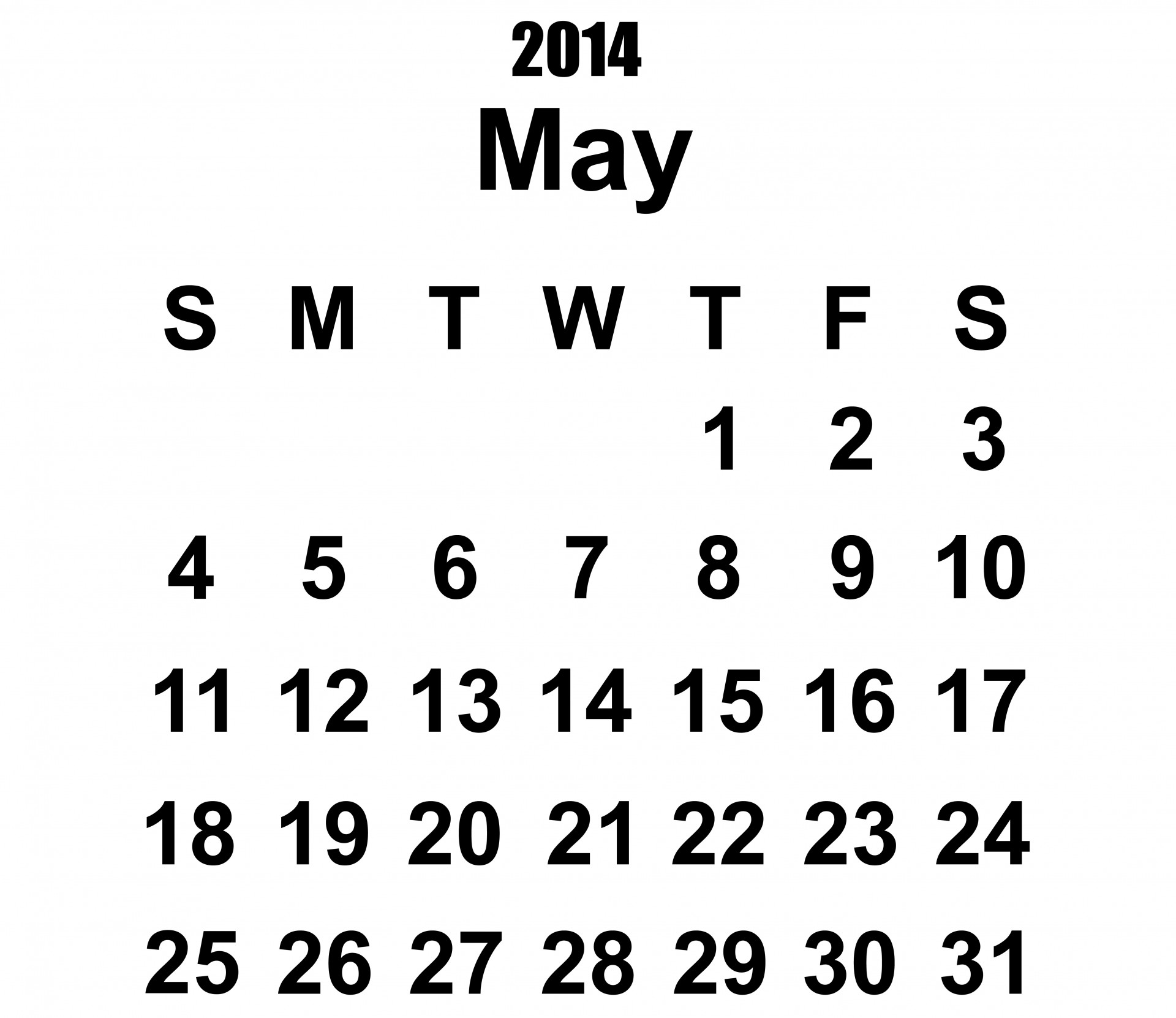 Calendar May Template Free Stock Photo