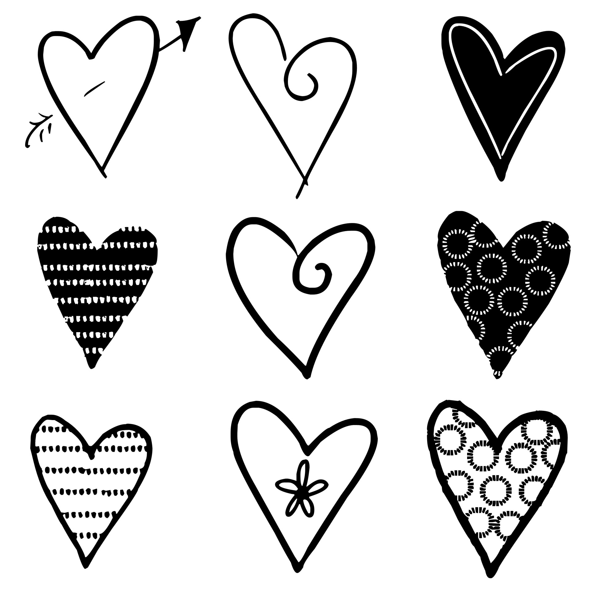 Hearts Silhouettes Black Free Stock Photo