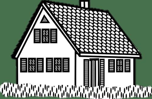 Rumah Lineart Tersebut Vektor Ilustrasi Domain Publik Vektor