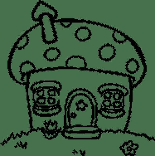 Rumah Jamur Domain Publik Vektor