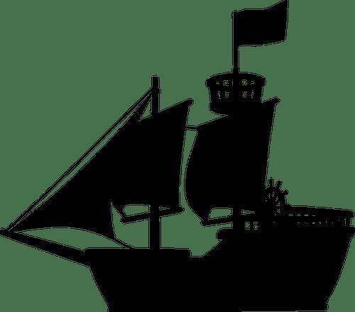 Mittelalterliche Schiff Silhouette Public Domain Vektoren