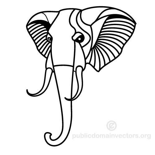 Art And Elephant Tusks Clip White Black