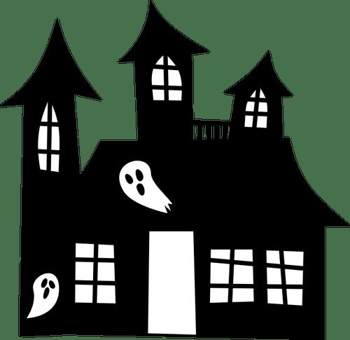 Rumah Berhantu Siluet Domain Publik Vektor
