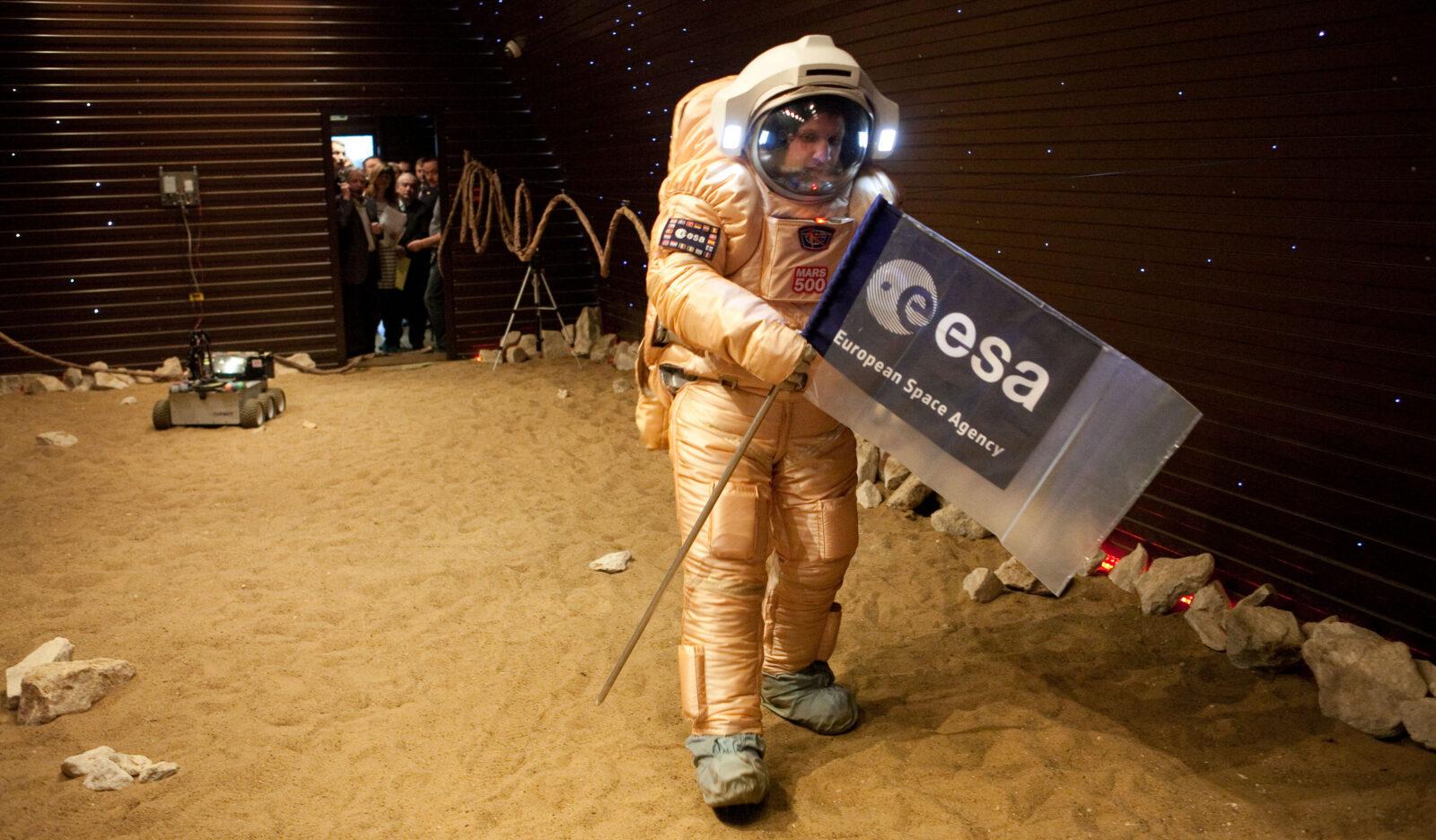 A study participant on a mock planet