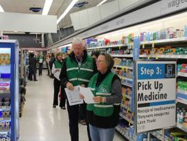 As part of Public Health's emergency exercise, Walgreen's tested procedures for getting medicine quickly to residents. The exercise was held before Walgreen's actual work hours, so volunteers from the Public Health Medical Reserve Corps showed up at 5 am to play the part of customers.
