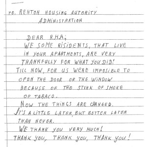 Letter to Renton Housing Authority from residents.