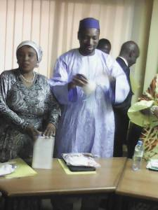 Ministre Action Sociale sanaba Kaba  on left and  Ministre of coopération Internationale Docteur Moustapha koutoubou SANO on right