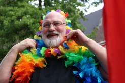 Frank Chaffee in the HIV/STD unit has been driving the Public Health truck in the Pride parade for years--while pumping out the tunes and running the bubble machine.