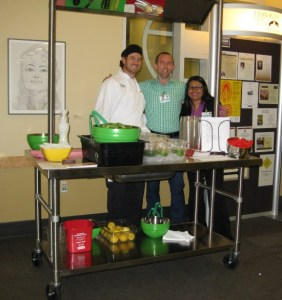 "Staff at Harborview Medical Center used their demonstration table to prepare and give out samples of a ""Green Machine"" Salad to promote the Oct. 11th Heart Walk."