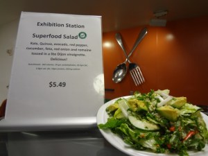 """A featured salad at Valley Medical Center marked with their new """"Go for It!"""" logo."""