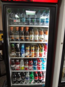 A beverage fridge at MultiCare Auburn Medical Center with healthy beverages at eye level.