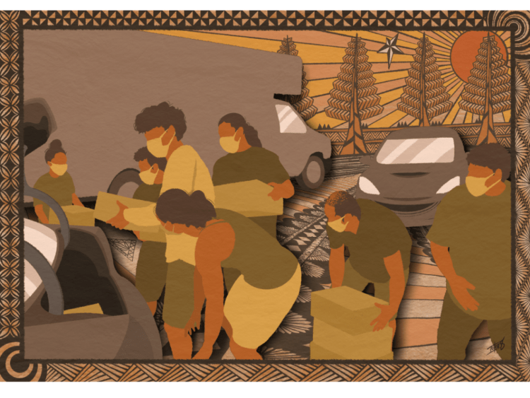 Yellow, brown, and light orange toned piece of art by Toku Valu with lots of texture. In this print, there are textured trees and sun in the background. At the foreground, seven individuals with masks are puling boxes out of the back of the vehicle and stacking them. Being depicted is a typical day at a PICA-WA food distribution site where several of our Pacific Islander young people and adults continuously show up to volunteer, support the livelihoods of our fellow Pasifika community members, and also connect and fellowship with each other.