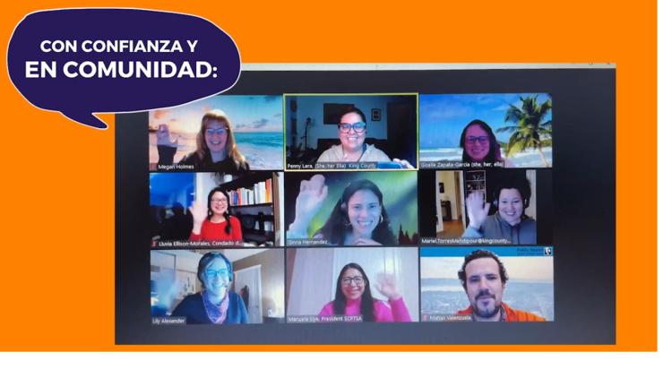 The Con Confianza team waving over Zoom.