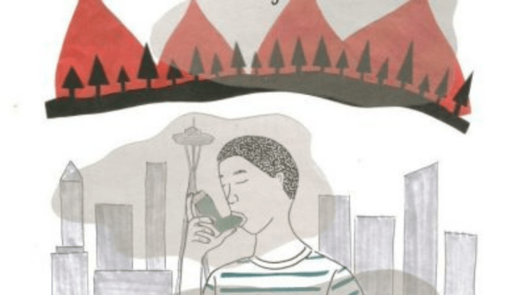 Hand-drawn art depicting young person using an inhaler in front of a smoky Seattle skyline.