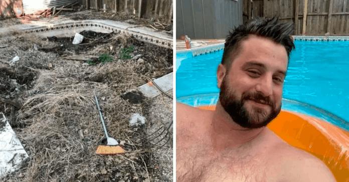 Homem compra imóvel e encontra piscina escondida no quintal