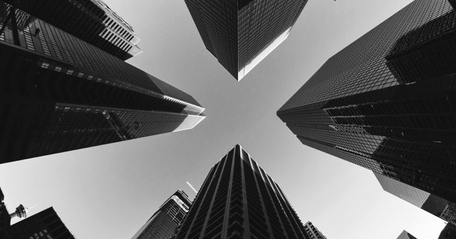 Image of buildings taken from ground angle looking up