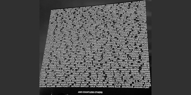 Image of names of black people who lost their lives at the hands of police