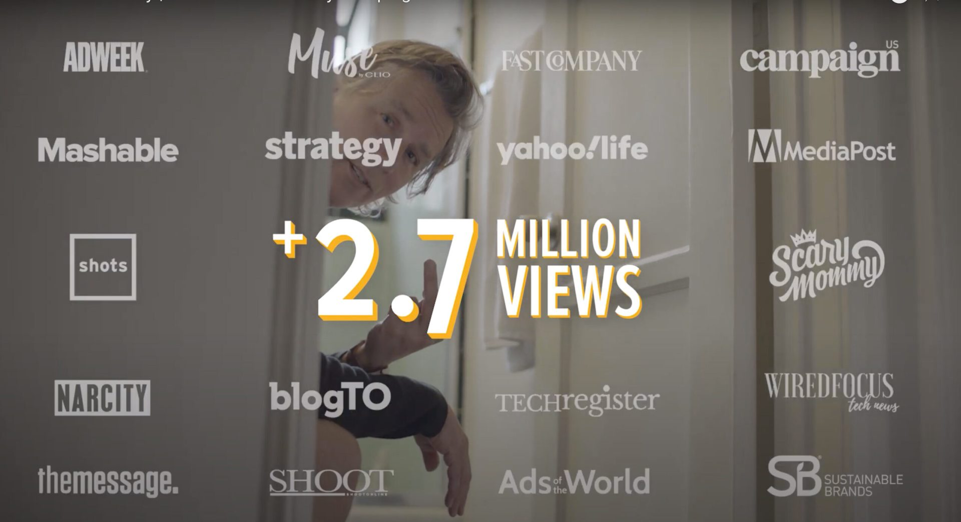 Logos of publications where campaign was featured along with impact 2.7 million views