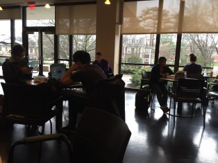 Students are working on homework and meeting up with friends in the library's Café Scribe. The Scribe is on the first floor of the library and serves up Starbucks' coffee and pastries. In the mornings and between classes, the Scribe is flooded with people looking for a pick me up.