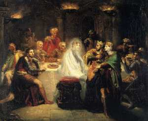"""""""Macbeth seeing the ghost of Banquo"""" by Théodore Chassériau. Oil on wood, 1854. © Public Domain 