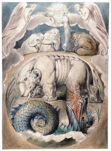 """""""Behemoth and Leviathan,"""" by William Blake, 1805 (from the Butts set), representing representing the futility of questioning God, who alone has created these beings and who alone can capture them. © Unknown 