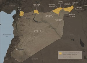 Map of Syria showing cantons © Human Rights Watch