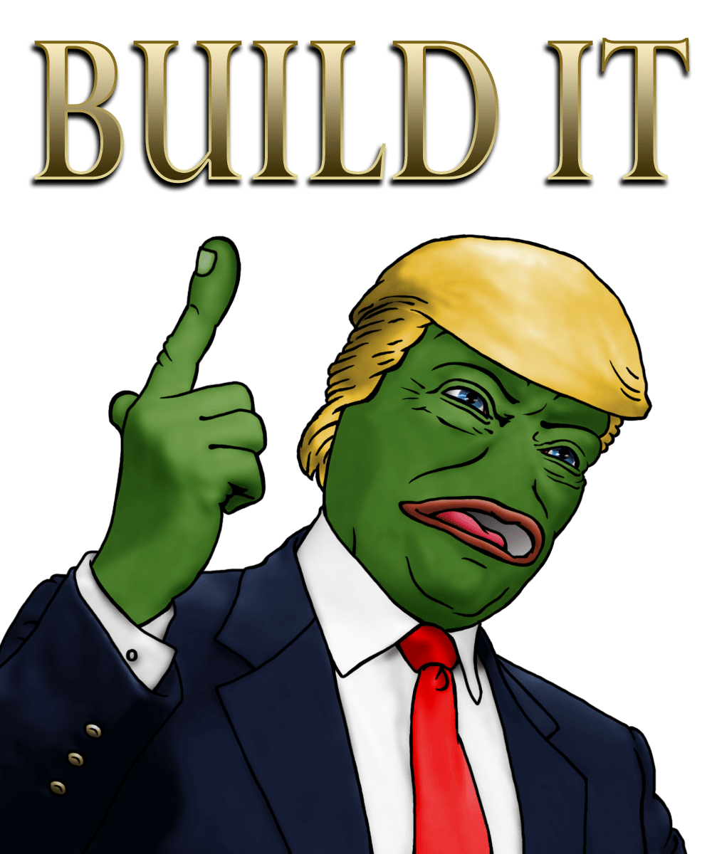 Build it: Reddit thread (https://www.reddit.com/r/The_Donald/comments/4zxdam/very_rare_build_it_pepe/)