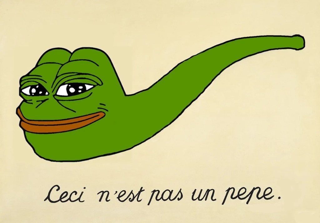 Pepe pipe: Know Your Meme entry on this particular meme (http://knowyourmeme.com/photos/1038984-smug-frog)