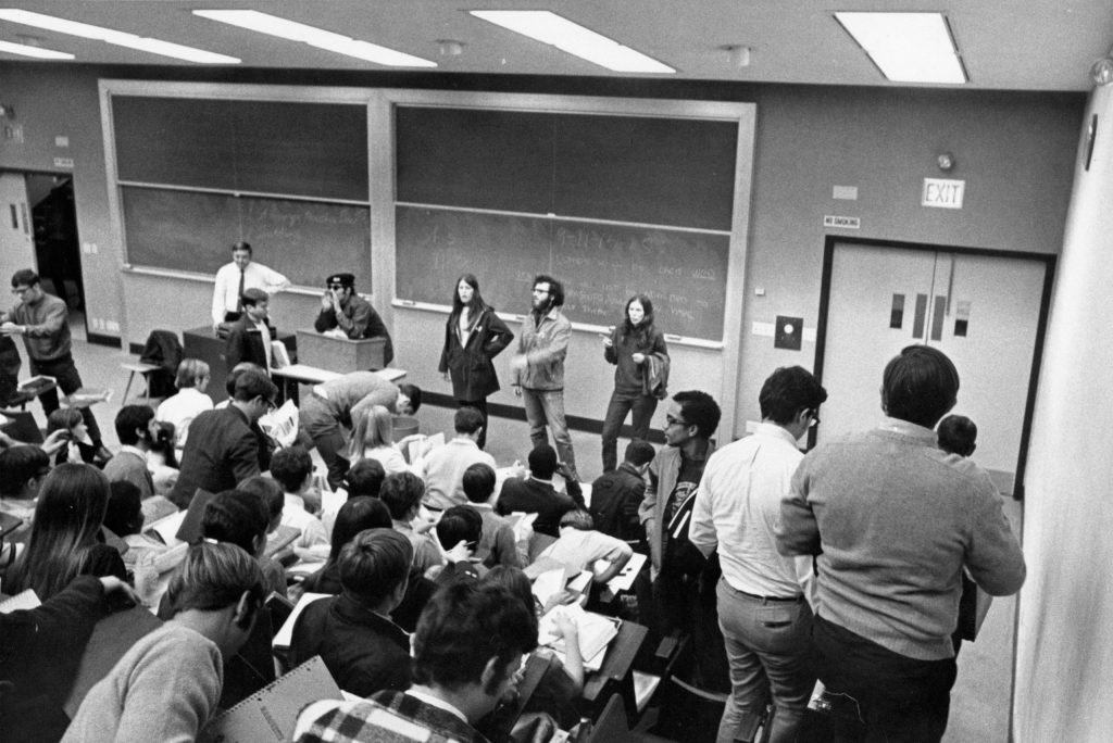 Students for a Democratic Society protest in a Marquette classroom, 1970