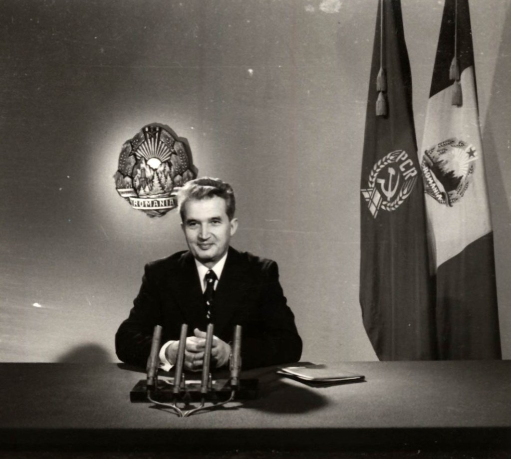Romanian communist leader Nicolae Ceauşescu addressing his New Year's Eve message on tv and radio