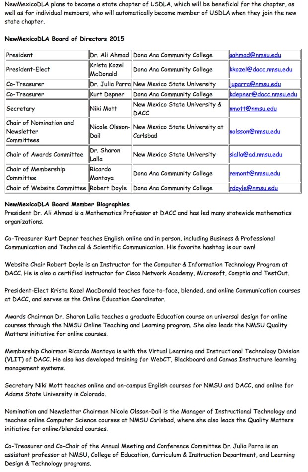 NMDLA Leadership contacts