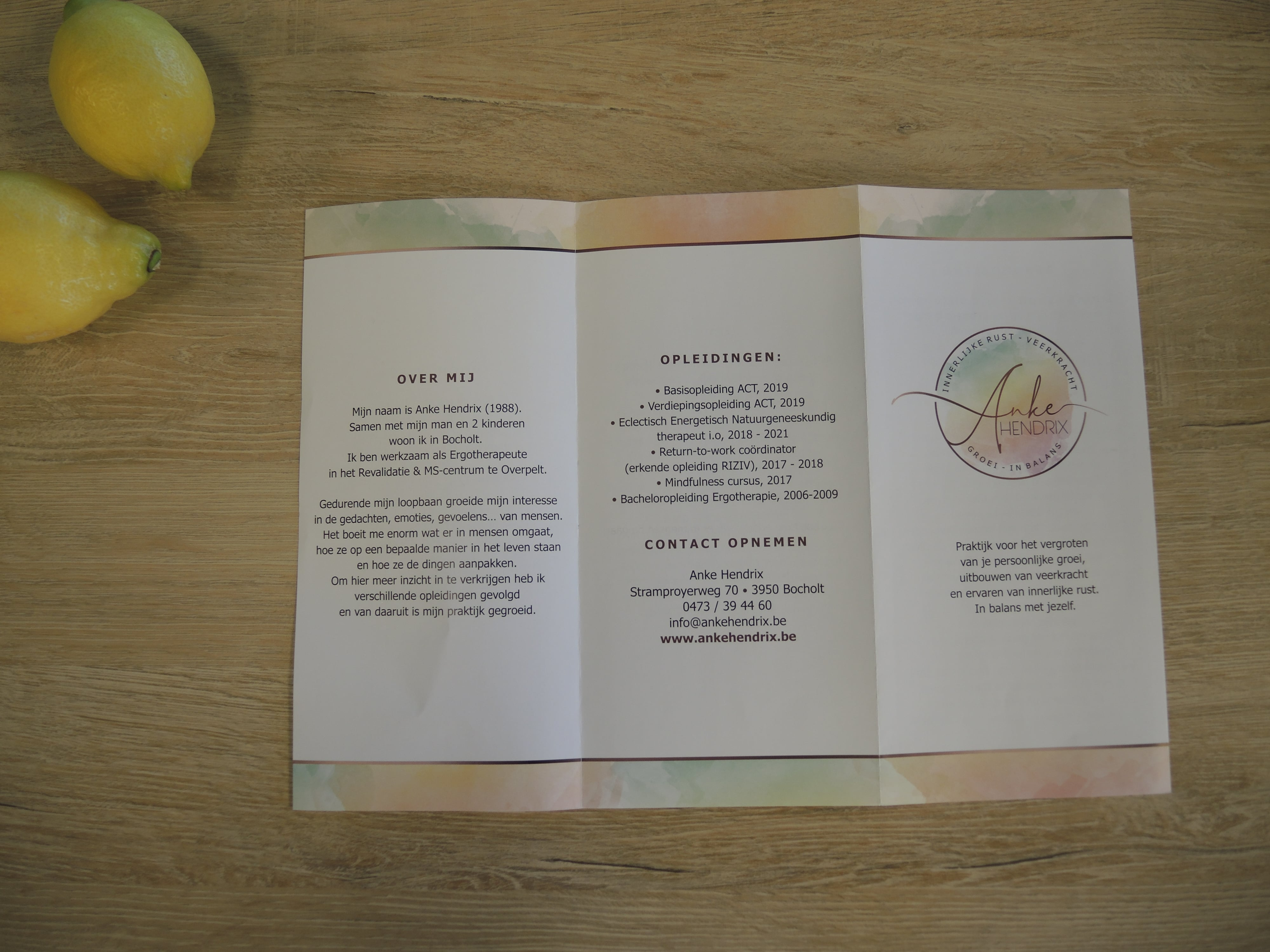 gerealiseerde en gedrukte folder voor Anke Hendrix