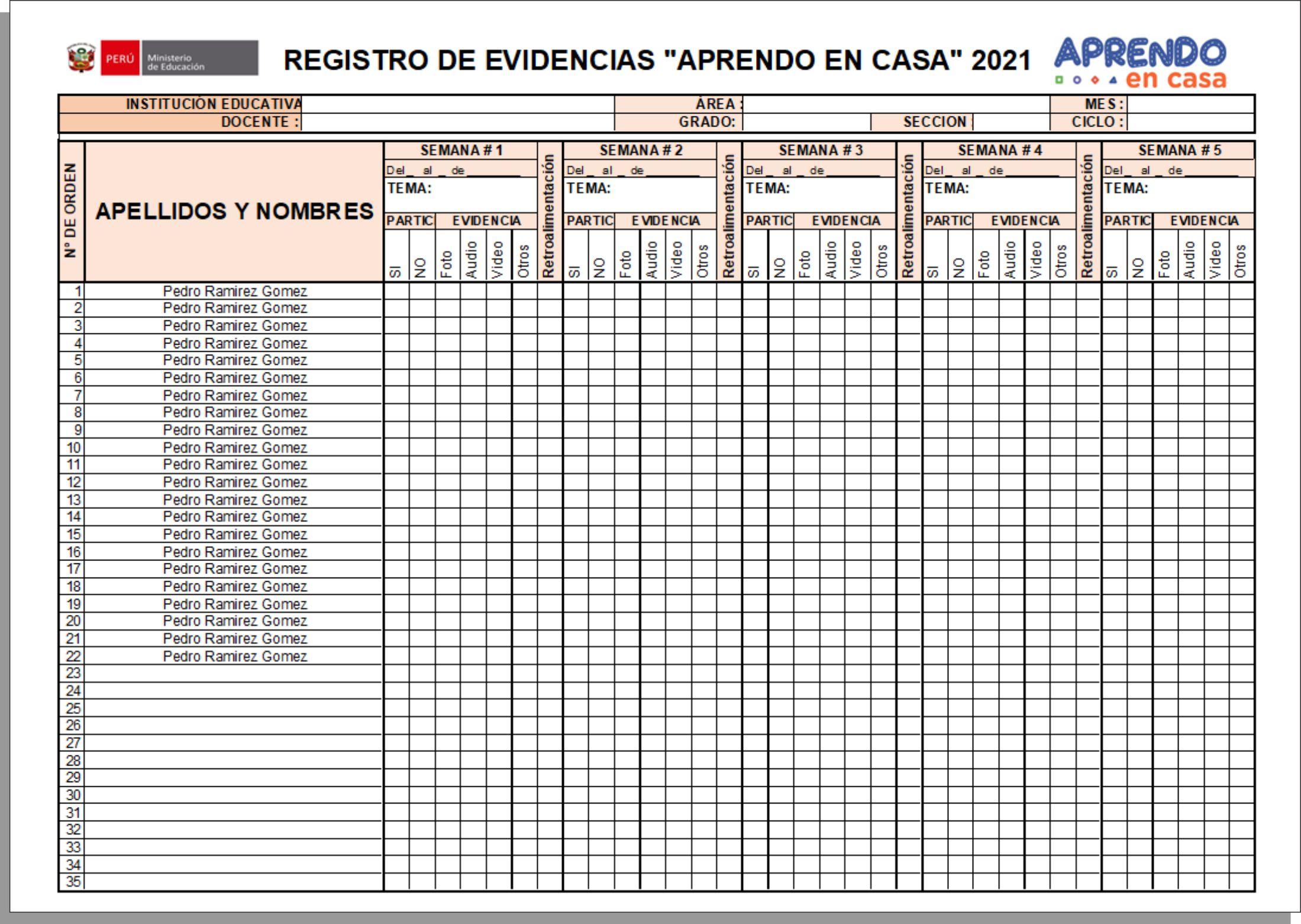 Registro de Evidencias