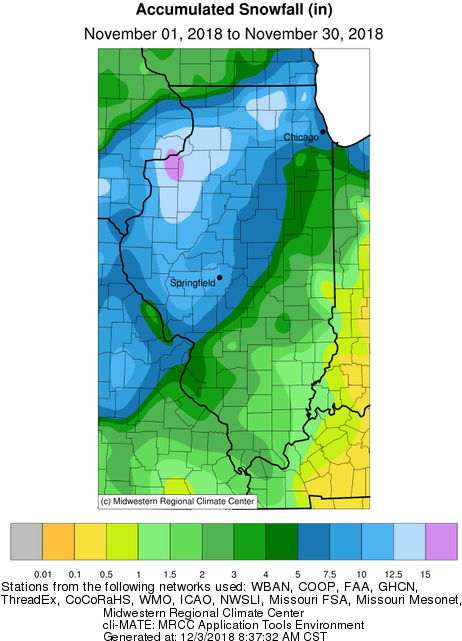 Overall Monthly Snowfall Ac Ulation Totals Averaged Around An Inch In Southeastern Illinois Up To 15 Inches In The Northwest Near The Quad Cities