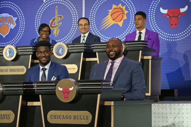 Horace Grant representing the Bulls on the NBA Draft Lottery stage