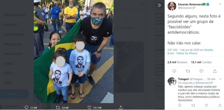 Postagem de Eduardo Bolsonaro